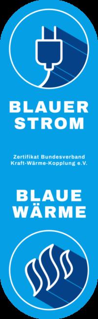 """Zertifikat """"BLAUER STROM/BLAUE WÄRME"""" für alle smartblock-BHKW"""