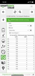 Smartphone: smartblock cloud - Meine BHKW, Leistungszähler